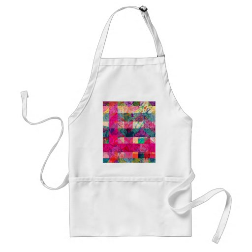 Vibrant Colorful Abstract Pink Plaid Funky Pattern Apron