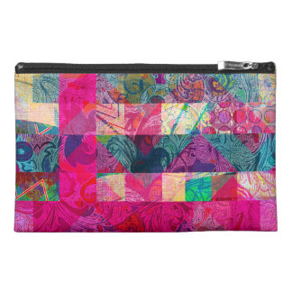 Vibrant Colorful Abstract Pink Plaid Funky Pattern Travel Accessory Bags