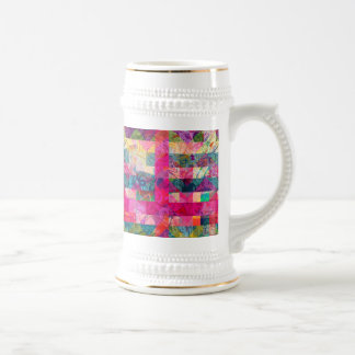 Vibrant Colorful Abstract Pink Plaid Funky Pattern Beer Stein