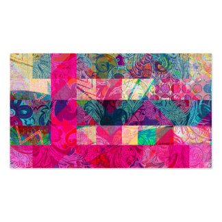 Vibrant Colorful Abstract Pink Plaid Funky Pattern Business Card