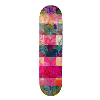 Vibrant Colorful Abstract Pink Plaid Funky Pattern Skate Board Deck