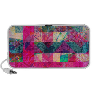 Vibrant Colorful Abstract Pink Plaid Funky Pattern Mp3 Speakers