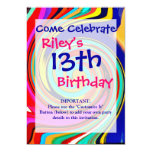 Vibrant Colorful Abstract Swirl of Melted Crayons Custom Announcements