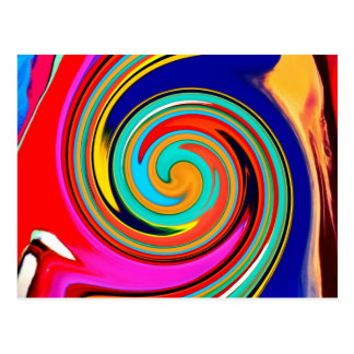 Vibrant Colorful Abstract Swirl of Melted Crayons Postcard