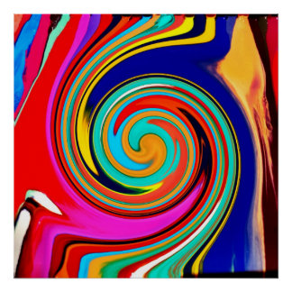 Vibrant Colorful Abstract Swirl of Melted Crayons Poster