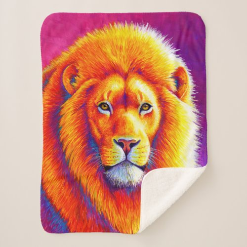 Vibrant Colorful African Lion Sherpa Blanket