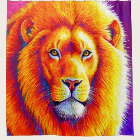 Vibrant Colorful African Lion Shower Curtain