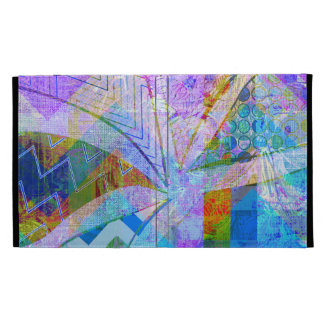 Vibrant Colorful Funky Blue Purple Butterfly Chevr iPad Folio Covers
