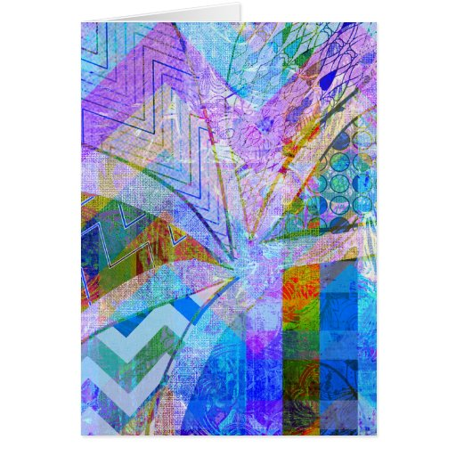 Vibrant Colorful Funky Blue Purple Butterfly Chevr Greeting Card