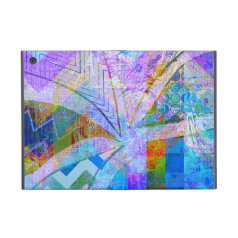 Vibrant Colorful Funky Blue Purple Butterfly Chevr Cases For iPad Mini
