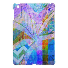 Vibrant Colorful Funky Blue Purple Butterfly Chevr Case For The iPad Mini
