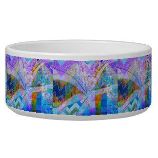 Vibrant Colorful Funky Blue Purple Butterfly Chevr Pet Food Bowls