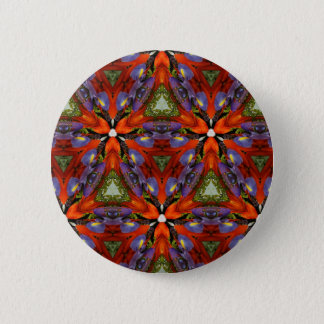 Vibrant Colorful Funky Kaleidoscope Pattern Pinback Button