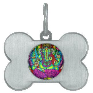 Vibrant Colorful Ganesh Painting Pet Tags