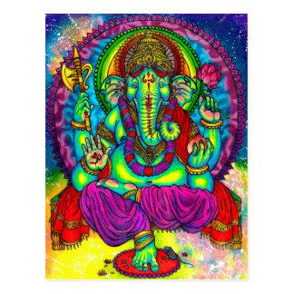 Vibrant Colorful Ganesh Painting Postcard