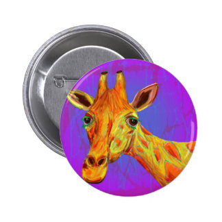 Vibrant Colorful Giraffe in Orange and Yellow Pinback Buttons