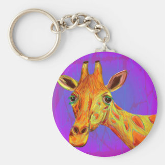 Vibrant Colorful Giraffe in Orange and Yellow Keychain