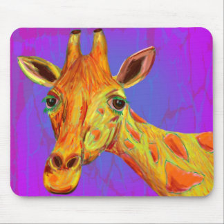 Vibrant Colorful Giraffe in Orange and Yellow Mousepad