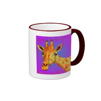 Vibrant Colorful Giraffe in Orange and Yellow Coffee Mugs