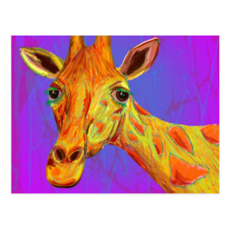 Vibrant Colorful Giraffe in Orange and Yellow Postcard