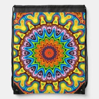 Vibrant Colorful Mandala Drawstring Bag