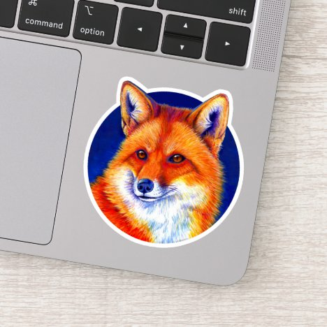 Vibrant Colorful Red Fox Portrait Vinyl Sticker