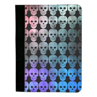Vibrant colorful skull pattern padfolio