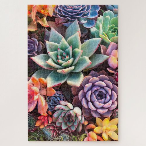 Vibrant Colorful Succulent Garden Large Puzzle