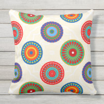 Vibrant Colorful Summer Mandala Double Sided Outdoor Pillow