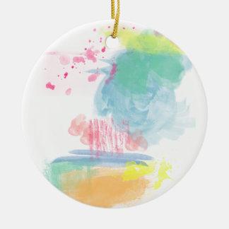 Vibrant, Colorful Watercolor Spatters Ceramic Ornament