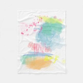 Vibrant, Colorful Watercolor Spatters Fleece Blanket