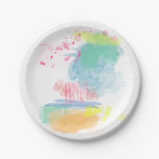 Vibrant, Colorful Watercolor Spatters Paper Plate