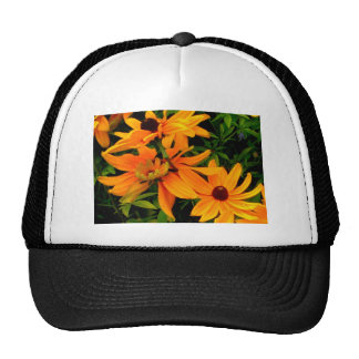 Vibrant colorful yellow flowers in full bloom trucker hat