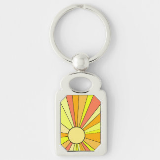 Vibrant Colors Shown in Stylized Sun Design Silver-Colored Rectangular Metal Keychain