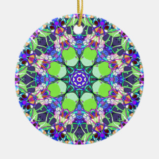 Vibrant Concentric Abstract Ceramic Ornament