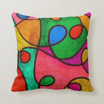 Vibrant Contemporary Colour Swirls Throw Pillow