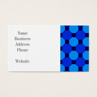 Vibrant Cool Blue Squares Hexagons Tile Pattern Business Card