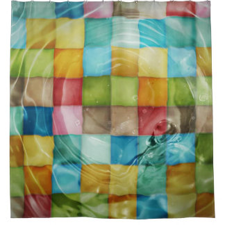 Vibrant Cubes Engulfed in Water Shower Curtain