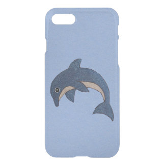 Vibrant Dark Blue Dolphin White Sparkles on Blue iPhone 7 Case