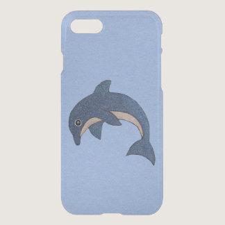 Vibrant Dark Blue Dolphin White Sparkles on Blue iPhone 8/7 Case