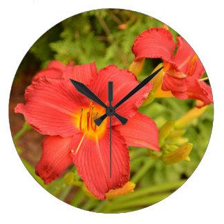 Vibrant Deep Pink Lily Wallclock
