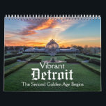 """Vibrant Detroit Calendar<br><div class=""""desc"""">The colorful calendar features the Second Golden Age of the magnificent city of Detroit,  Michigan. Included are traditional and drone photos of Belle Isle,  the Detroit skyline,  one of the Boblo Boats undergoing restoration,  the Detroit River and more.</div>"""