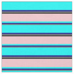 [ Thumbnail: Vibrant  Dim Grey, Blue, Cyan, Pink & Black Lines Fabric ]