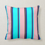 [ Thumbnail: Vibrant  Dim Grey, Blue, Cyan, Pink & Black Lines Throw Pillow ]