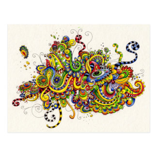 Vibrant Doodle Painting Postcard