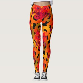 Vibrant Dotted Orange Roses Leggings by RainbowChild_Art at Zazzle