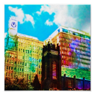 vibrant downtown canvas posters