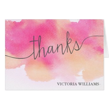 Professional Business Vibrant Dreams Thank You Note Card / Pink Peach