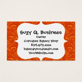 Vibrant Elegant Orange Damask Lace Girly Pattern Business Card