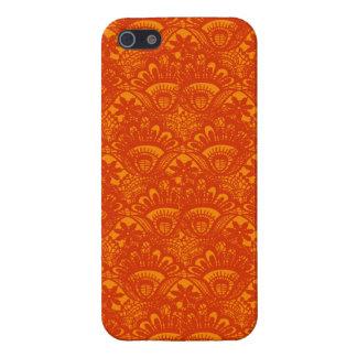Vibrant Elegant Orange Damask Lace Girly Pattern iPhone SE/5/5s Cover